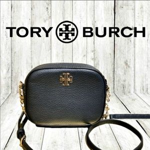 Tory Burch Logo Round Crossbody Purse Black Gold